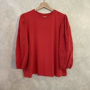 A New Day Red 3/4 Puff Sleeve Top Size XXL